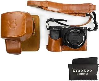 kinokoo Funda de cuero PU para Sony A6300 A6000 y lente de 16-50 mm funda protectora SONY A6300 (marrón)