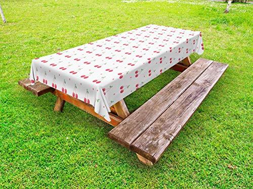 ABAKUHAUS Cerise Nappe Extérieure, Fruits d'été et à Pois, Nappe de Table de Pique-Nique Lavable et Décorative, 145 cm x 265 cm, Corail Blanc