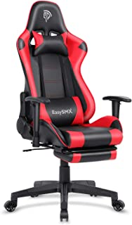 EasySMX Reclining Memory Foam Racing Gaming Chair, Ergonomic High-Back Racing Computer Desk Office Chair with Retractable Footrest and Adjustable Lumbar Cushion (Red)