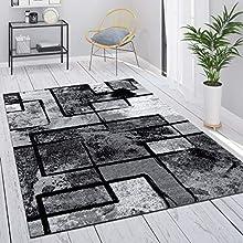 Alfombra Salón Gris Vintage Pelo Corto Motivo Geométrico Abstracto, tamaño:140x200 cm, Color:Gris