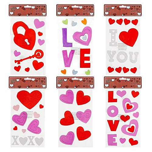 Valentines Window Gel Clings 6 Pack Valentine Heart Gel Stickers Party Decorations Accessories, I Love You, Red Pink Hearts, Key to My Heart, For Kids, School, Classroom, Home Decor By Gift Boutique