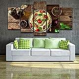 Cuadros modulares para decoración del hogar 5 piezas Cocina italiana Pasta Aceite de oliva Pinturas de ajo Cocina Impresiones en HD Carteles Arte de la pared + Decoración modular del hogar Cuadro