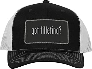 One Legging it Around got Filleting? - Leather Black Metallic Patch Engraved Trucker Hat
