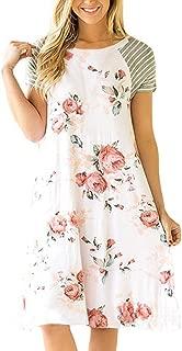Women's Summer Casual Dress Floral Print Short Sleeve A-line Loose T-Shirt Dresses
