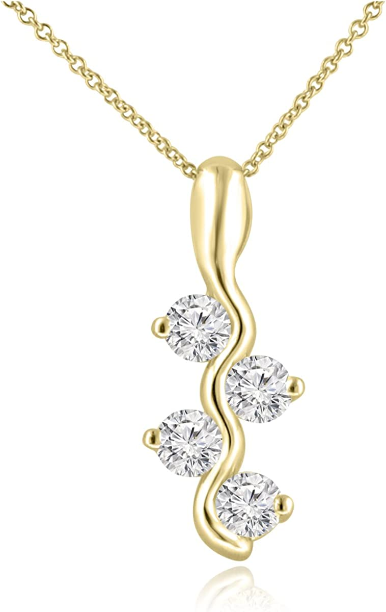 Madina Jewelry 0.65 Ct Ladies Round Cut Diamond Pendant/Necklace (Color G Clarity VS-2) in 14 Kt Yellow Gold