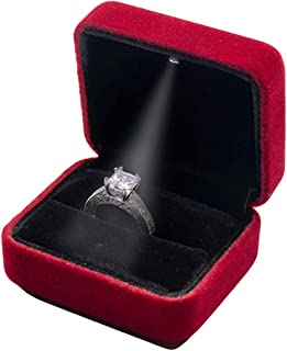 LED Velvet Ring Box for Proposals, Jewelry Display and Gifts