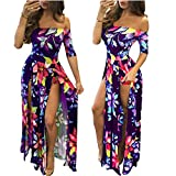 Romper Split Maxi Dress High Elasticity Floral Print Short Jumpsuit Overlay Skirt for Summmer Party Beach ¡ (4XL, Purple Blue)