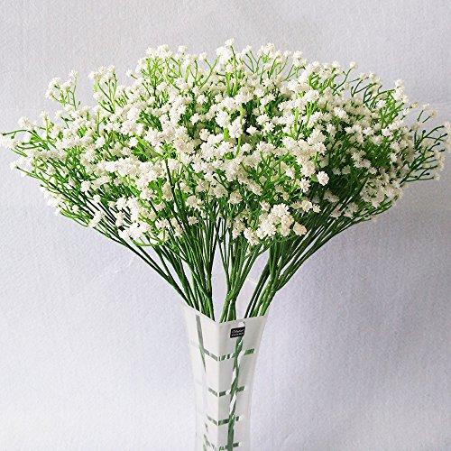 SWECOMZE Gypsophila Paniculata, flores artificiales de látex realista, para decoración de bodas, hogar, fiesta, jardín (blanco, 6)