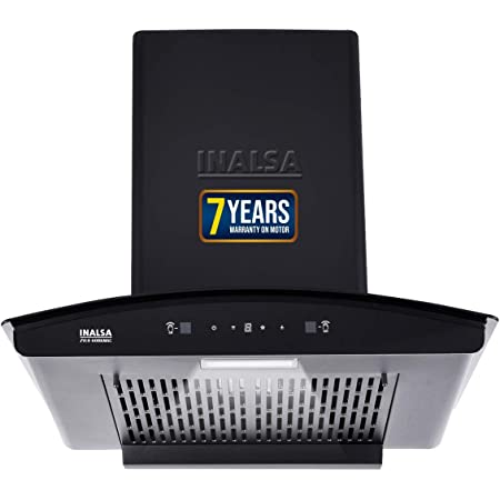 Inalsa Auto Clean, Motion Sensor Filterless Kitchen Chimney-60 cm 1250 m³/hr (Zylo 60BKMAC, Touch Control, Curved Glass, Black)