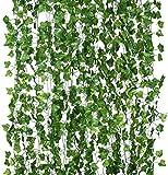 Pianta artificiale da appendere, 12 ghirlande di edera artificiali, utilizzate per sfondo di nozze, giungla, festa, decorazione da tavolo o ufficio, Rattan di foglie di patate dolci