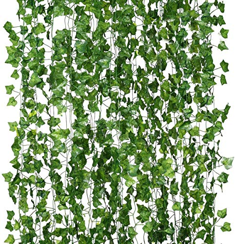 80-foot 12-strand artificial hanging fake plant, ivy garland leaf vine greenery, used for wedding background arch wall jungle party table office decoration (Parthenocissus leaf)
