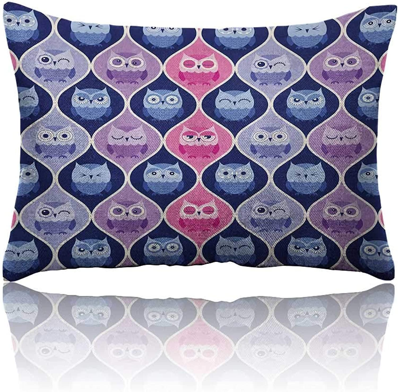 Owl Mini Pillowcase Tired Eyes Closed Sleeping Owls Silent Flight Kids greenical Design Illustration Fun Pillowcase 20 x26 Pink Purple bluee