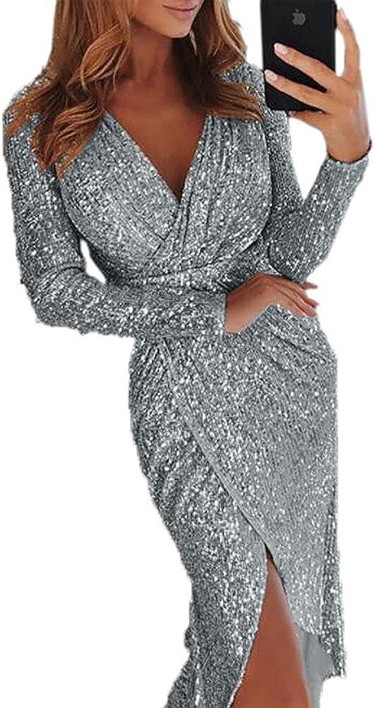 Sexy Deep V Neck Gray Long Sleeve Bodycon Women High Split Cocktail Dress