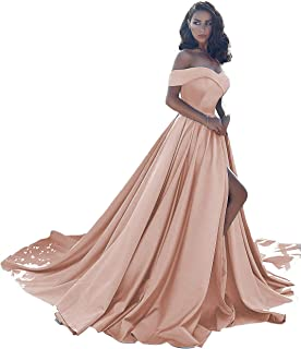 Prom Dresses Long Split Off Shoulder Ball Gowns for Women Formal Wedding Evening Dress