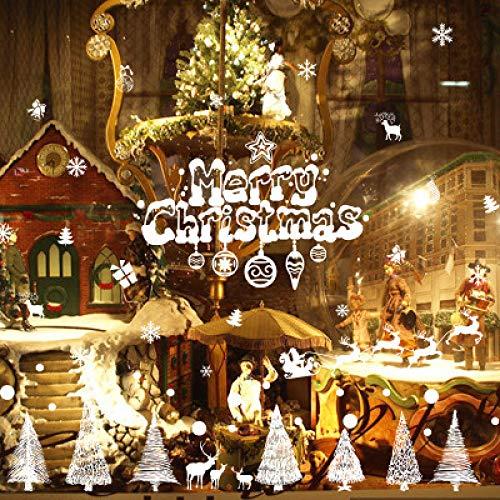 HNLY Weihnachtsaufkleber Weihnachtsaufkleber Glasfenster Weihnachtsdekoration Wandaufkleber Einkaufszentrum Glasaufkleber Weihnachtstag Requisiten 90 * 60Cm