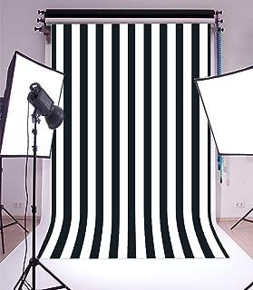 Laeacco Customizable 5x7ft Vinyl Photography Background Backdrop Dark Blue Blurry Black and White Stripes Theme Backdrop Photo Studio Props 1.5(w) x2.2(h) m