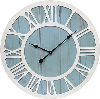 CHIAE Large Wall Clock Farmhouse Decorative Battery Operated Silent Decor Big Wall Clocks for Home Living Room ,Coastal Blue 36-inch