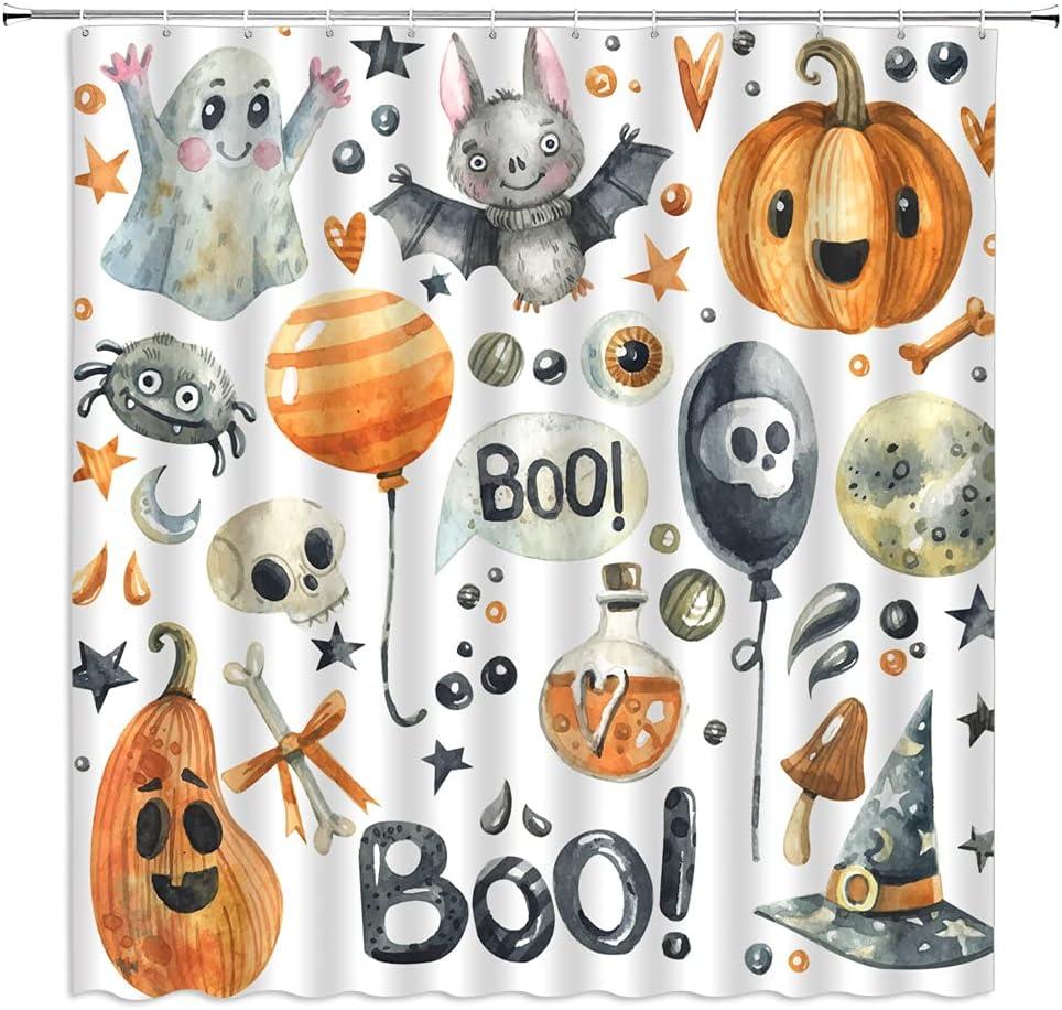 Max 40% OFF AMHNF Al sold out. Halloween Shower Curtain Gray Ghost Bal Pumpkin Bat Orange