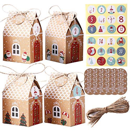 Herefun 24 Adventskalender zum Befüllen, Adventskalender Tüten mit 1-24 Adventszahlen Aufkleber, Weihnachtskalender Tüten Geschenkbeutel DIY Bastelset Weihnachten Geschenktüten (1)