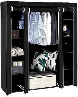 JKIOHO Armoire portable, organiseur de rangement de placard, double armoire de rangement avec rail de suspension, armoire ...