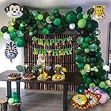 LYEJFF Tema de la Selva Decoraciones de Safari con Globo Verde Garland Arch Telón de Fondo Folleto Tropical Fuentes de Fiesta Mejor decoración de cumpleaños Interior