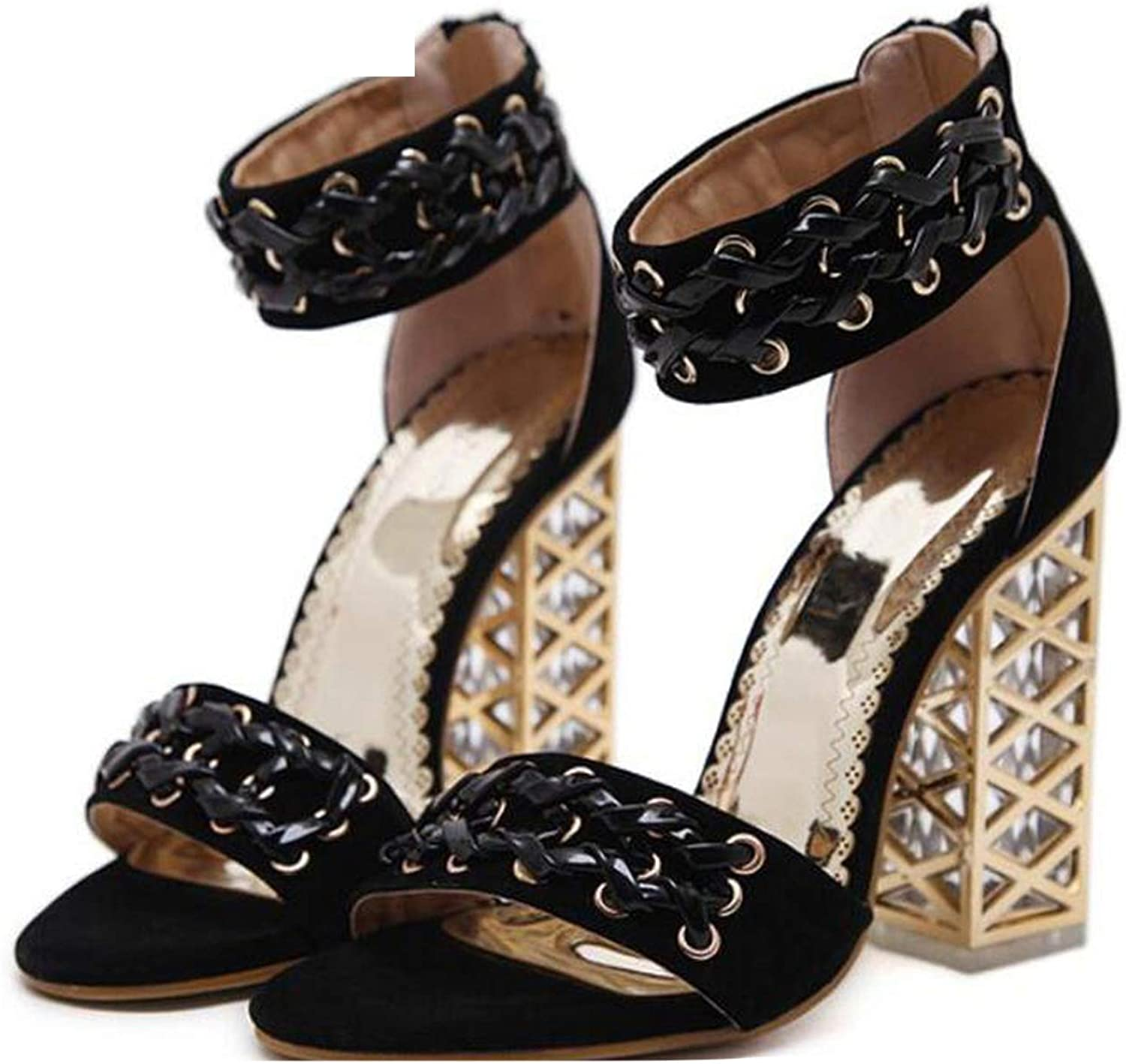 Summer Sandals Fashion Roman Crystal with Zipper Women Pumps shoes Sexy High Heels Party Sandals