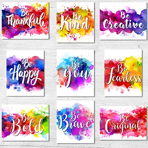 Zonon 9 Pieces Abstract Watercolor Wall Art Prints Inspirational Art Posters Motivational Quote Posters Unframed Colorful Art Prints For Living Room Office Nursery Classroom Decoration, 8 X 10 Inch