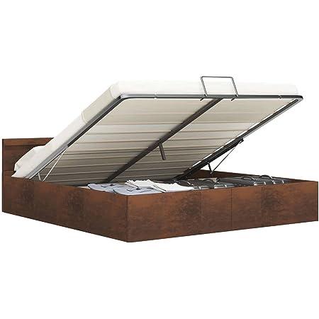 vidaXL Cadre de lit à Rangement avec LED Marron Tissu 180x200 cm