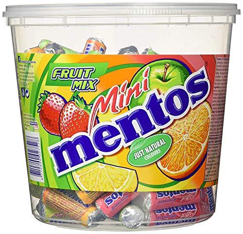 Mentos Mini Mentos Roll Fruit Mix, Confezione Regalo Secchiello da 120 Mini Roll Gusti Assortiti Fragola, Mela, Arancia, Limone, Idea Regalo per Feste e Compleanno Bambini