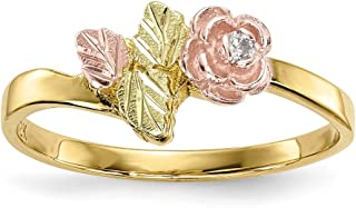 10k Tri Color Black Hills Gold Diamond Rose Band Ring Size 7.00 Flowers/leaf Fine Jewelry Gifts For Women For Her