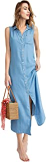 Classic Sleeveless Blue Jean Button Down Denim Pocket Collar Shirt Dress