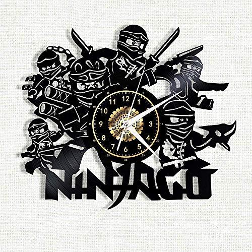 clockfc Wanduhr-Uhr-Zeit-Beobachten Ninjago Vinyl Record Wanduhr LED leuchtende Silhouette Rekord handgefertigte Schlafzimmer Dekoration Geschenk mit LED-Licht 12 Zoll-No_Led_Light