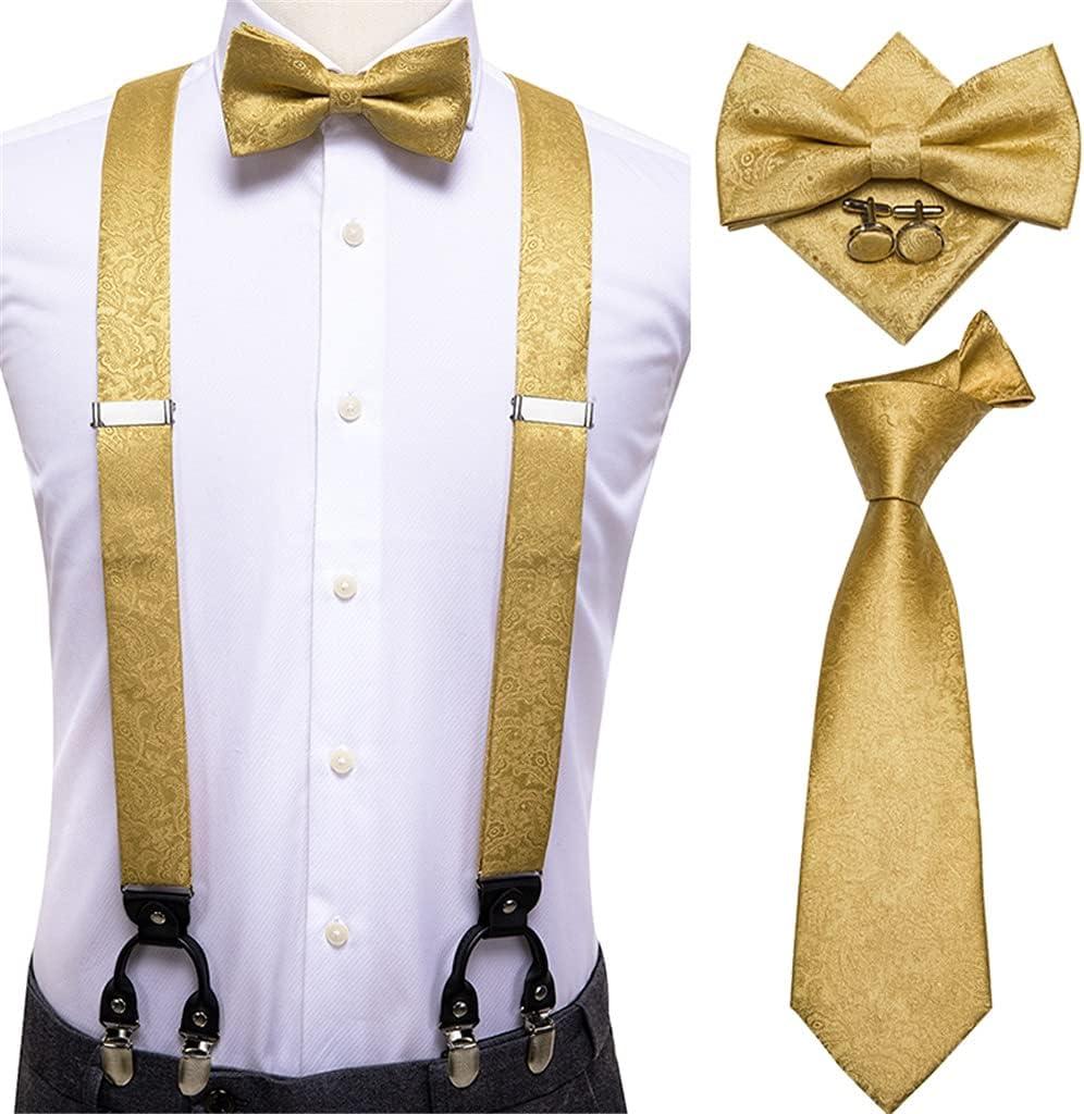 NJBYX Men's Suspender Set Leather 6 Clips Braces Vintage Fashion Gold Floral Wedding Suspenders and Bowtie Set (Color : A, Size : Adjustable)
