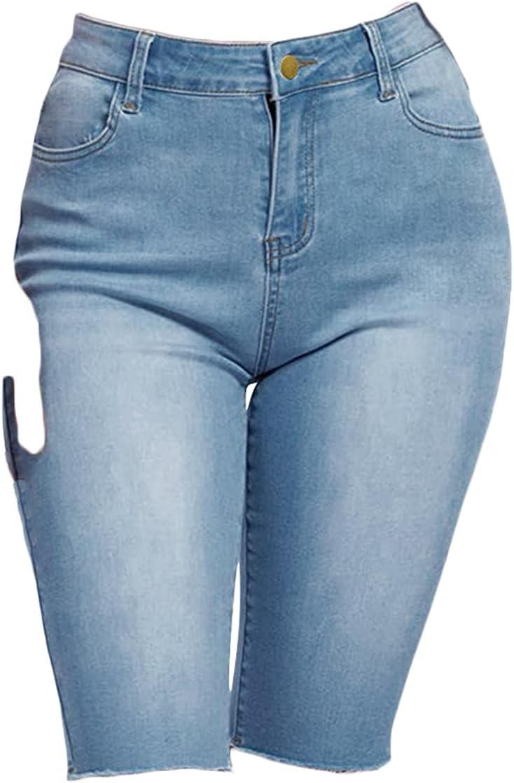Women's Knee-Length Denim Shorts High Waist Cut Bermuda Short Washed Skinny Slim Fit Summer Casual Short Jeans (Blue,Medium)