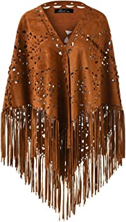 Ladies' Elegant Suede Open Poncho Shawl Wrap with Laser Cut Patterns and Statement Fringing