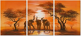 Hello Artwork - Modern Canvas Wall Art African Forest Sunset Elephant Family Around Lake Landscape Oil Painting Print On Canvas Framed and Stretched For Living Room Home Decor (12
