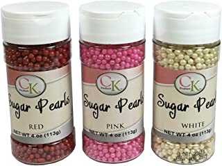 CK Products Red, Pink Sanding Sugar, and White Pearls Decorating Sprinkles 3 Pack Bundle