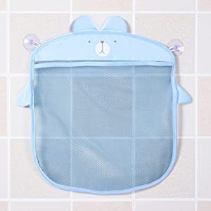 Queenaal Sucker Design Cartoon Bathroom Mesh Bags Waterproof Baby Kids Storage Net Bag