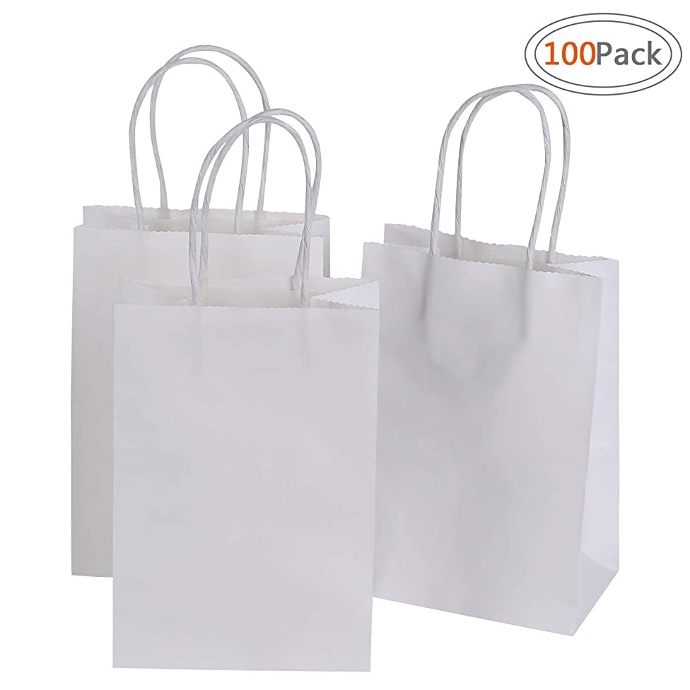 Road 5.25 x 3.75 x 8 inches Small Kraft White Paper Bags with Handles, Shopping, Grocery, Mechandise, Party Bags (100pc)