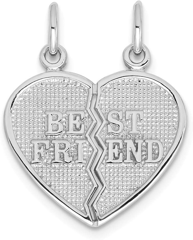 Diamond2Deal 14k White gold Best Friend Breakapart Pendant