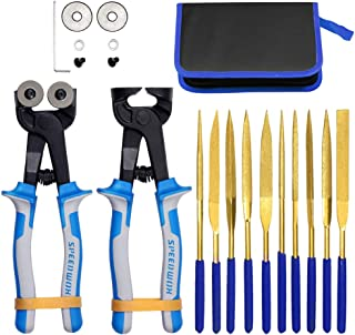 SPEEDWOX 20PCS Mosaic Tools Nippers with Replacement Cutting Wheel Titanium Coated Diamond Needle File Set 180mm Total Len...