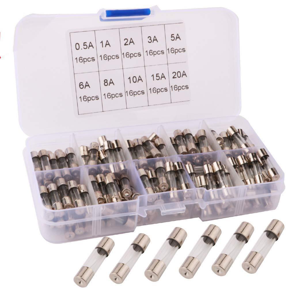 RUNCCI-YUN 160Pcs Fusibles de Tubo de Vidrio de Coche,Kit de fusibles de tubo de vidrio de soplado rápido,250 V 5x20mm Fusible de Tubo de Vidrio (0.5A 1A 2A 3A 5A 6A 8A 10A 15A 20A)