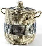 Kobolo Dekorativer Wäschekorb Aufbewahrungskorb aus Seegras mit Deckel und Henkeln im maritimen Design (Home)