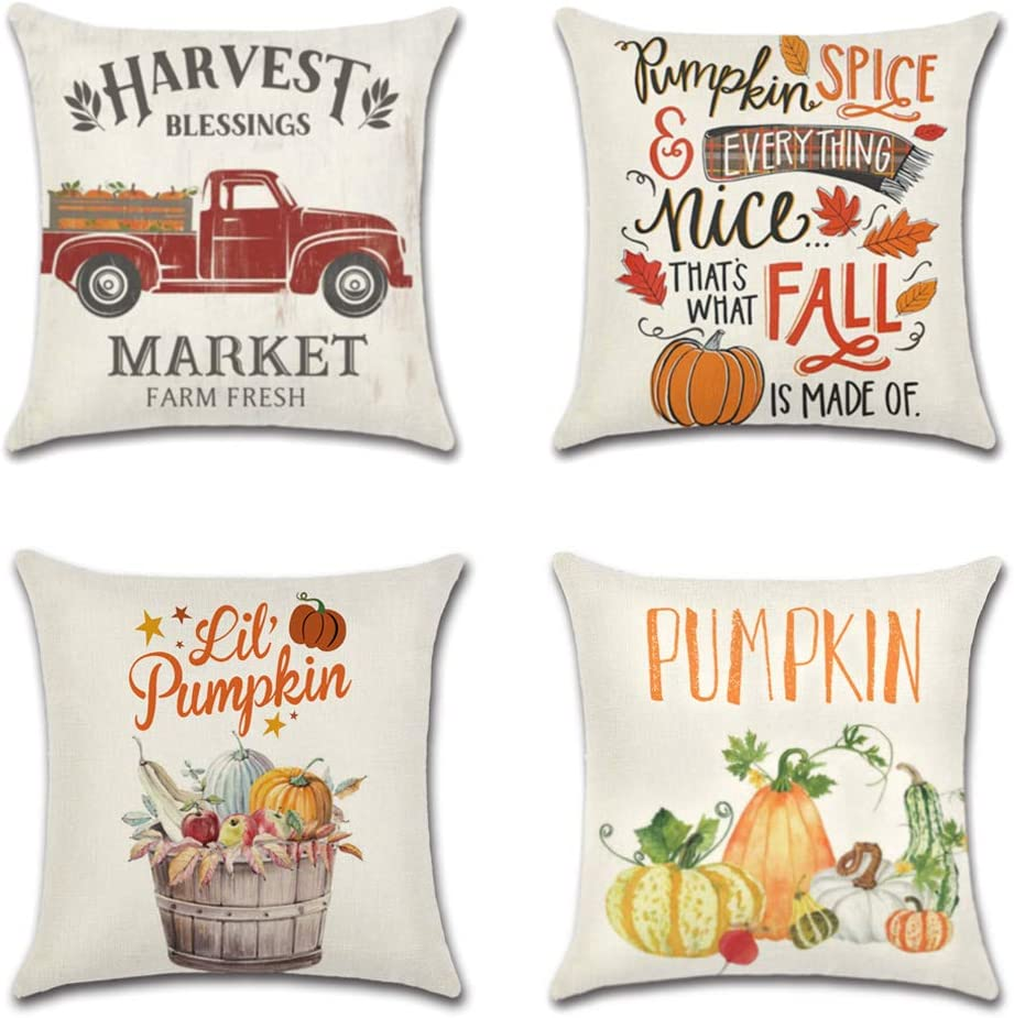 New Free Shipping COMHO Pack of 4 Fall Decorative Free shipping on posting reviews Pillow Theme Farm Covers Autumn