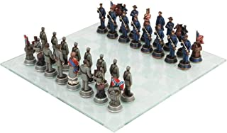 Ky & Co YK Civil War North Versus South Yankee Chess Piece with Glass Board Set Figurine