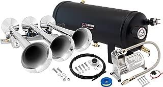 Vixen Horns Train Horn Kit for Trucks/Car/Semi. Complete Onboard System- 150psi Air Compressor, 1.5 Gallon Tank, 3 Trumpets. Super Loud dB. Fits Vehicles Like Pickup/Jeep/RV/SUV 12v VXO8715/3118