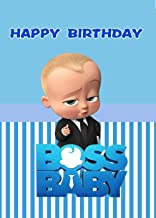 zlhcgd 7x5FT Boss Baby Photography Vinyl Photo Background for Kids Birthday Party Backdrops Decoration