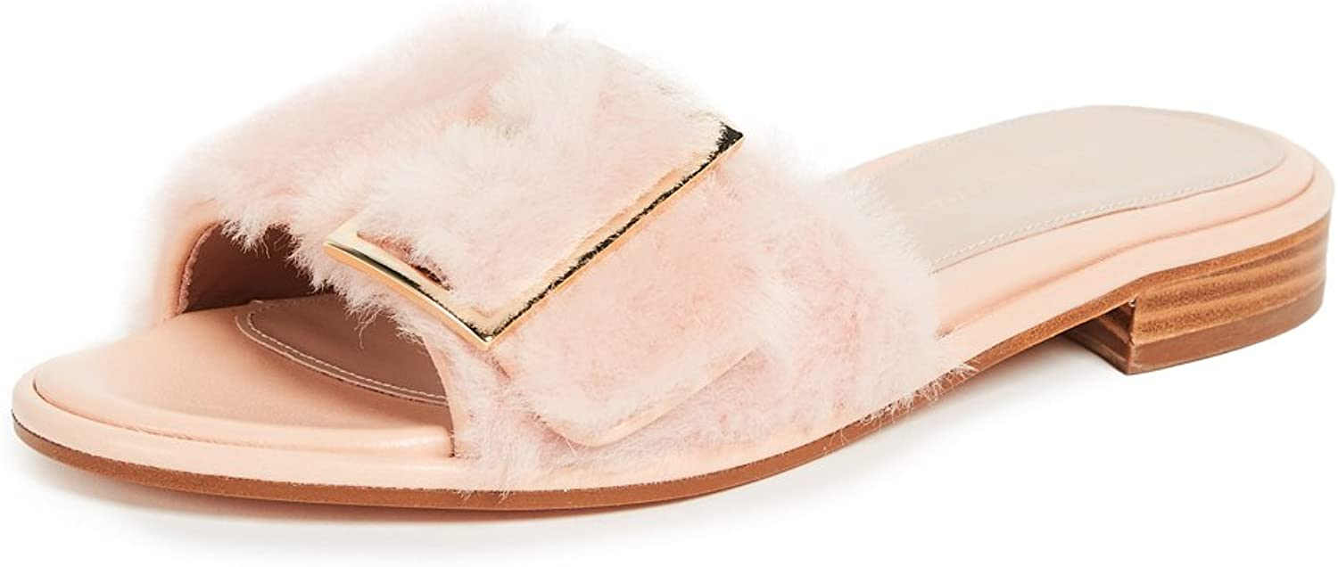 Stuart Weitzman Womens Fuzzywuz Lamb Fur Mule Dress Sandals