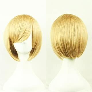 As Shown Gold Milopon Parrucca da Donna Naturale Bob Lungo Spalla Parrucca per Donna Ragazza Cosplay
