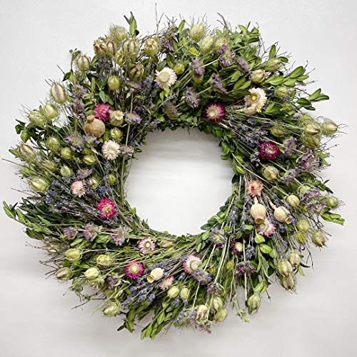 The Gathering Garden Wildflower and Lavender Wreath. 22 inch Dried Flower Wreath. Wonderful Easter, Spring, Summer and Fall Harvest Wreath